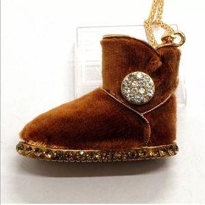 Rhinestone Brown Velvet Show Boot Necklace